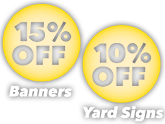15% Off Banners 10% Off Signs
